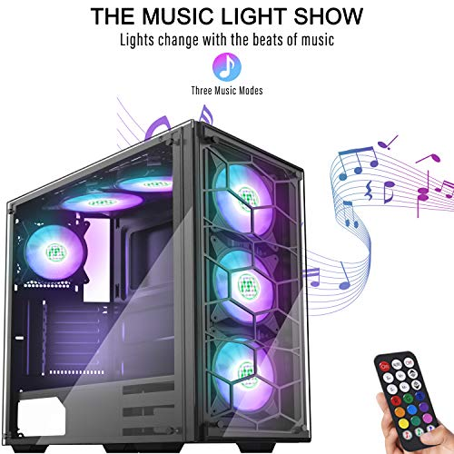 MUSETEX Phantom Black ATX Mid Tower Desktop PC Gaming Case Computer Gaming Case USB 3.0 Ports Tempered Glass Windows with 120mm LED RGB Fans Pre-Installed (907)