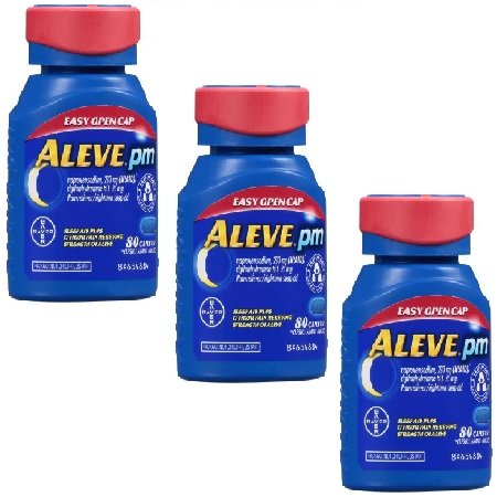 Aleve PM with Easy Open Arthritis Cap, Caplets with Naproxen Sodium, 220mg (NSAID) Pain Reliever/Fever Reducer/Sleep Aid, 80 Count - 3 Packs ()