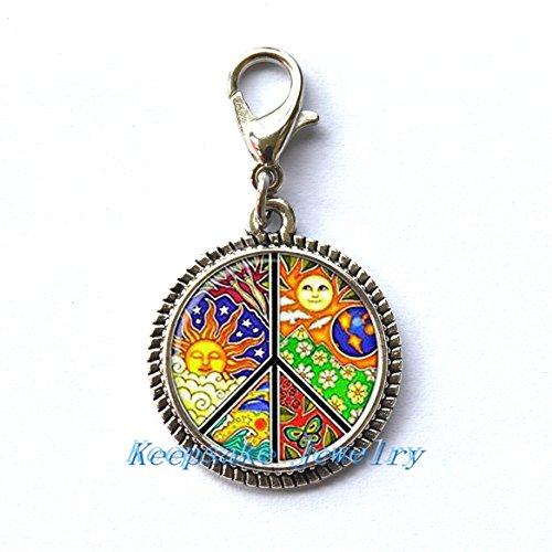 Fashion Zipper Pull,Peace Zipper Pull, Peace Sign Zipper Pull, Peace Jewellery, Peace Symbol,Jewelry Glass Cabochon Zipper Pull-RC191