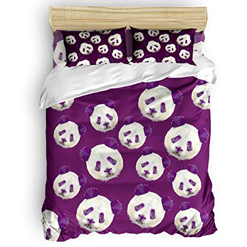 Crystal Emotion Home Comforter Bedding Sets 4Pieces Duvet Cover Sets Cute Geometric Panda Purple Luxury Bedding Bed Sheets Bedroom Collections with Pillowcases Twin
