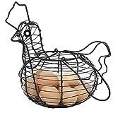 egg baskets - Farmhouse Style Black Metal Wire Chicken Design Egg Basket / Decorative Kitchen Storage Baskets