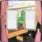 Rikki Knight 2929 Double Rocker Juan Gris Art Open Windows with Hills Design Light Switch Plate