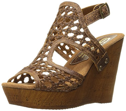 Sbicca Women's Macos Wedge Sandal, Brown, 7 B US