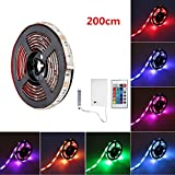 Battery LED Light Strip, SOLMORE RGB 6.6ft 60 LED Strip Lights,Flexible Rope Lights,Waterproof Ribbon Light with Battery Box,24 key IR Controller for Home Kitchen DIY Outdoor Lighting 200cm