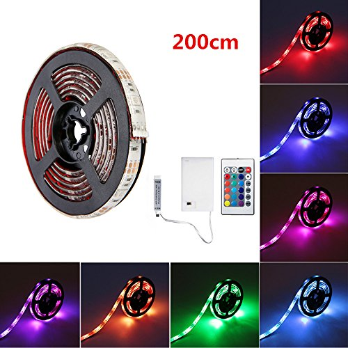 SOLMORE LED Strip Lights, RGB 6.6ft 60 LED Battery Waterproof Flexible Rope Ribbon Lights TV Backlight Battery-powered with Wireless Remote Control,Decoration Lights for DIY Party Living Room 200cm