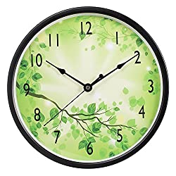 Wall Clock, SkyNature 12 inch Metal Decorative Silent Quartz Wall Clock for Home Living-room Kitchen Office School Bedroom (Green 1)