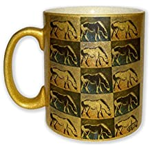 Marsh Tacky Pony in Purple Mustang Wild Horse Pattern Art by Denise Every - Gold Sparkle Coffee Mug with Round Rubber Drink Coaster