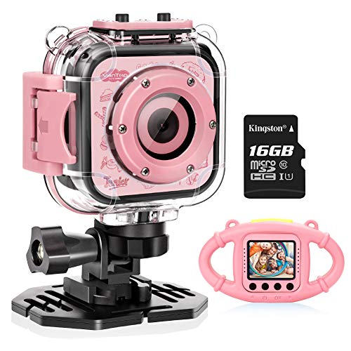 VanTop Junior K3 Kids Camera, 1080P Supported Waterproof Video Camera w/ 16Gb Memory Card, Extra Kid-Proof Silicon ()