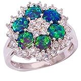 gem ring size 5 - CiNily Silver Blue Fire Opal Zircon Women Jewelry Gemstone Ring Size 5-11 (10)