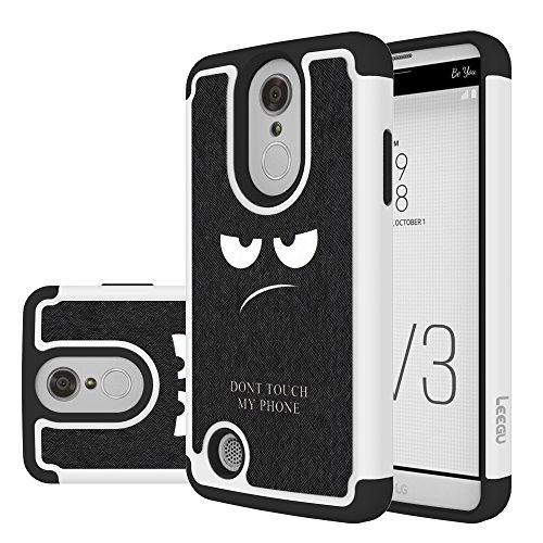 LG Aristo Case,LG K8 2017 Case, LEEGU [Shock Absorption] Dual Layer Heavy Duty Protective Silicone Plastic Cover Case for LG LV3 – Don't Touch My Phone