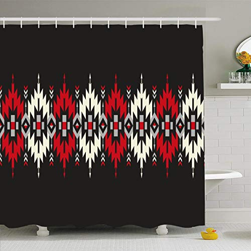 Ahawoso Shower Curtain 66x72 Inches Apache Mexican Tribal Geometric Border Pattern Abstract Zigzag Aztec American Indian Native Graphic Waterproof Polyester Fabric Set with Hooks