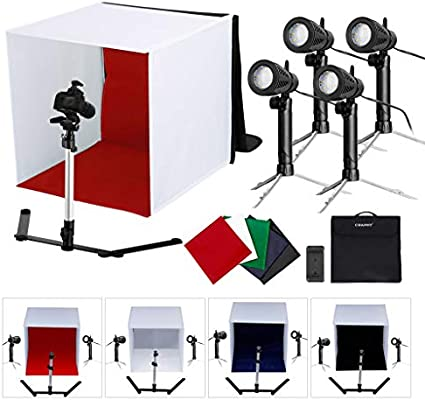 Caja de Luz Portátil 42x42x44cm, Portable Foto Estudio Caja con 4 ...