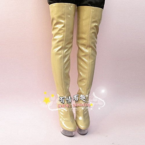 fashion heels cm stage boots Boots catwalk 15 crystal Knee high avFwqg