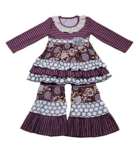 Yawoo Haan Kids Girls Ruffle Dress Pants Party Clothing Set Boutique Outfits Purple 6-7T