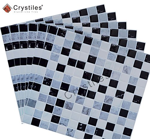 "Crystiles Peel and Stick DIY backsplash Tile Stick-on Vinyl Wall Tile Item #91010859 10/"" X 10/"" Each Perfect backsplash idea for Kitchen and Bathroom d/écor Projects 6 Sheets Pack"