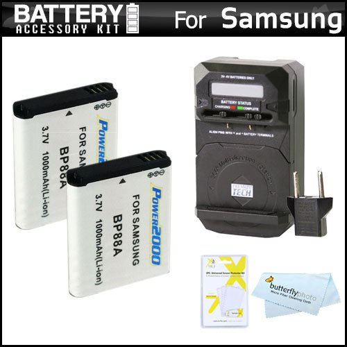 Extended Li 1000mah Ion Battery (2 Pack Battery And Charger Kit For Samsung DV300F DualView Digital Camera Includes 2 Extended Replacement (1000Mah) BP88 Batteries + Ac Rapid Travel Charger + LCD Screen Protectors + MicroFiber Cleaning Cloth)