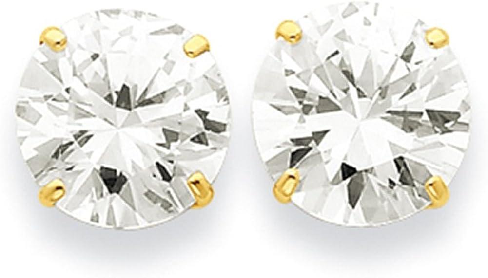 Lex /& Lu 14k Yellow Gold 11mm Round CZ Post Earrings