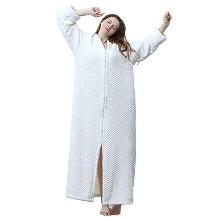 V1 Clothing CO Albornoz de Pijama, Franela de Albornoz de vellón de Coral otoño e