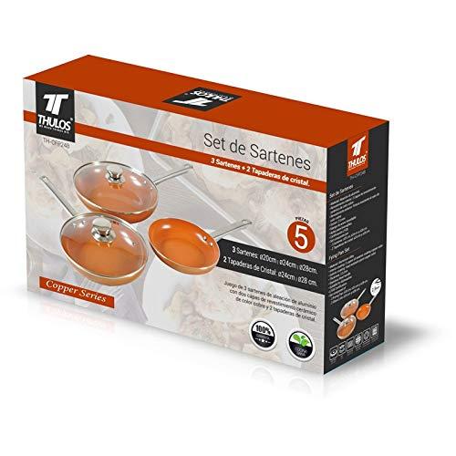 Thulos Set de 3 Sartenes y 2 Tapaderas de Cristal, 3+2, TH-CFP248: Amazon.es: Hogar