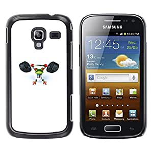 LECELL--Funda protectora / Cubierta / Piel For Samsung Galaxy Ace 2 I8160 Ace II X S7560M -- Gym Sports Frog White Weight Lifting --