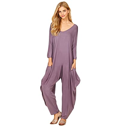77780080e0cc Annabelle Women s Long Sleeve Comfy Harem Jumpsuit Romper With Pockets  Purplish Medium J8002