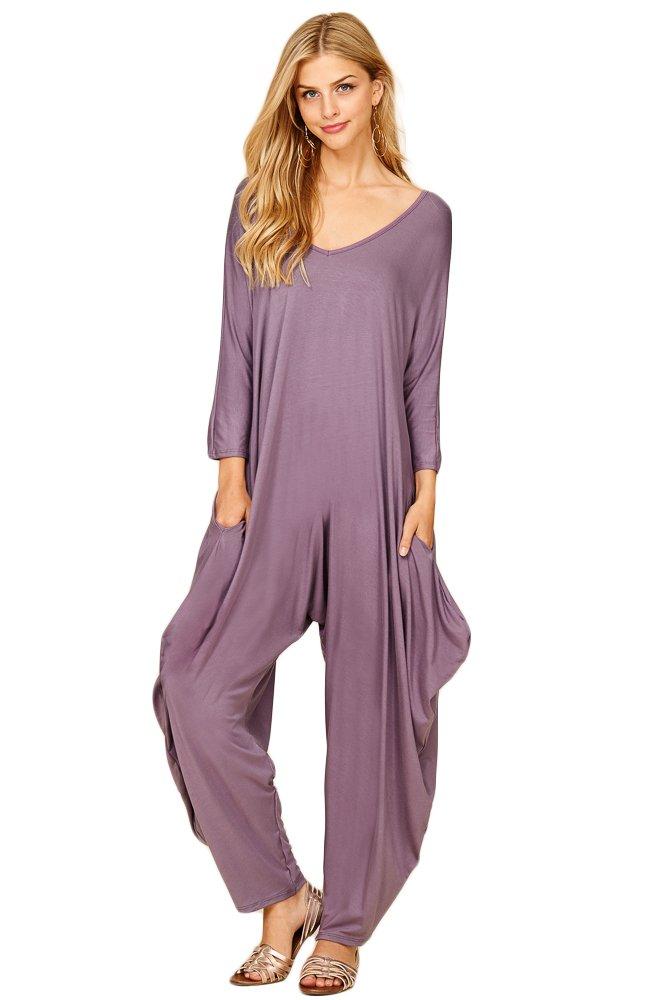 Annabelle Women's Long Sleeve Comfy Harem Jumpsuit Romper with Pockets Purplish 2X-Large J8002X