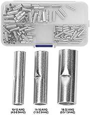 NITRIP Kit de terminales de cable de empalme de conector a tope no aislado, de 150 piezas, sin aislamiento