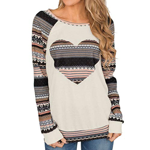(Sunmoot Clearance Sale Striped Sleeve Tunic for Women Casual Loose Color Block Patchwork T-Shirt Long Sleeve Top Blouse)