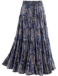 065fcb9aa7 Women's Sequins & Paisley Skirt- Blue Tiered Broomstick Elastic Drawstring  Waist