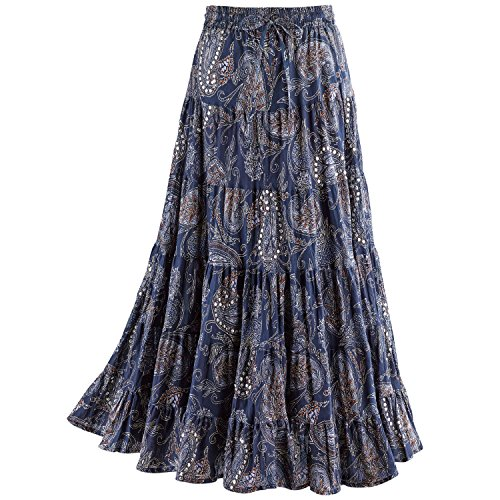 CATALOG CLASSICS Women's Sequins & Paisley Skirt- Blue Tiered Broomstick Elastic Drawstring Waist - Large -
