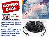 Sirio Gain-Master Hi-Tech Fiberglass 5/8 Wave 10m & CB Base Antenna w/100 Ft Coax