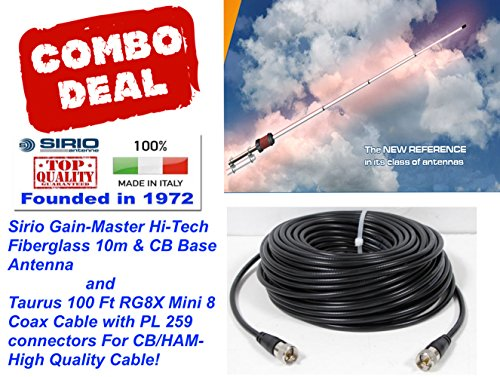 [해외]Sirio Gain-Master Hi-Tech Fiberglass 58 Wave 10m & CB Base Antenna w100 Ft Coax / Sirio Gain-Master Hi-Tech Fiberglass 58 Wave 10m & CB Base Antenna w100 Ft Coax