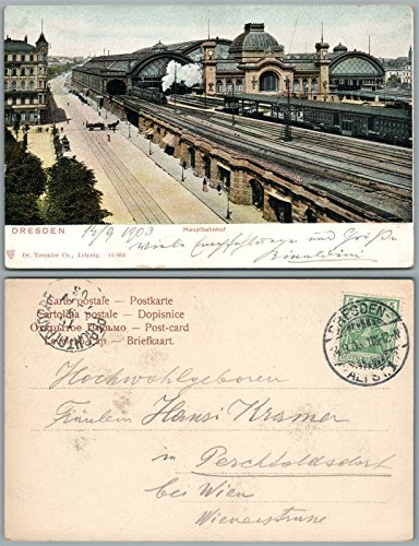 Germany Railroad - DRESDEN HAUPTBAHNHOF GERMANY ANTIQUE POSTCARD w/STAMP railroad station railway