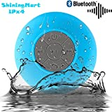 ShiningMart Bluetooth Speaker, Water Resistant Bluetooth 3.0 Shower Speaker, Wireless Portable Audio Hands-Free Speakerphone with Built-in Mic, Control Buttons and Dedicated Suction Cup ( IPX4 Blue )