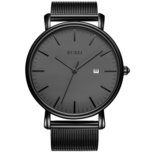 BUREI Unisex Stylish Dress Quartz Watches with Elegant Dial Date Mineral Crystal Milanese Band (Crystal Womens Watch Dress)