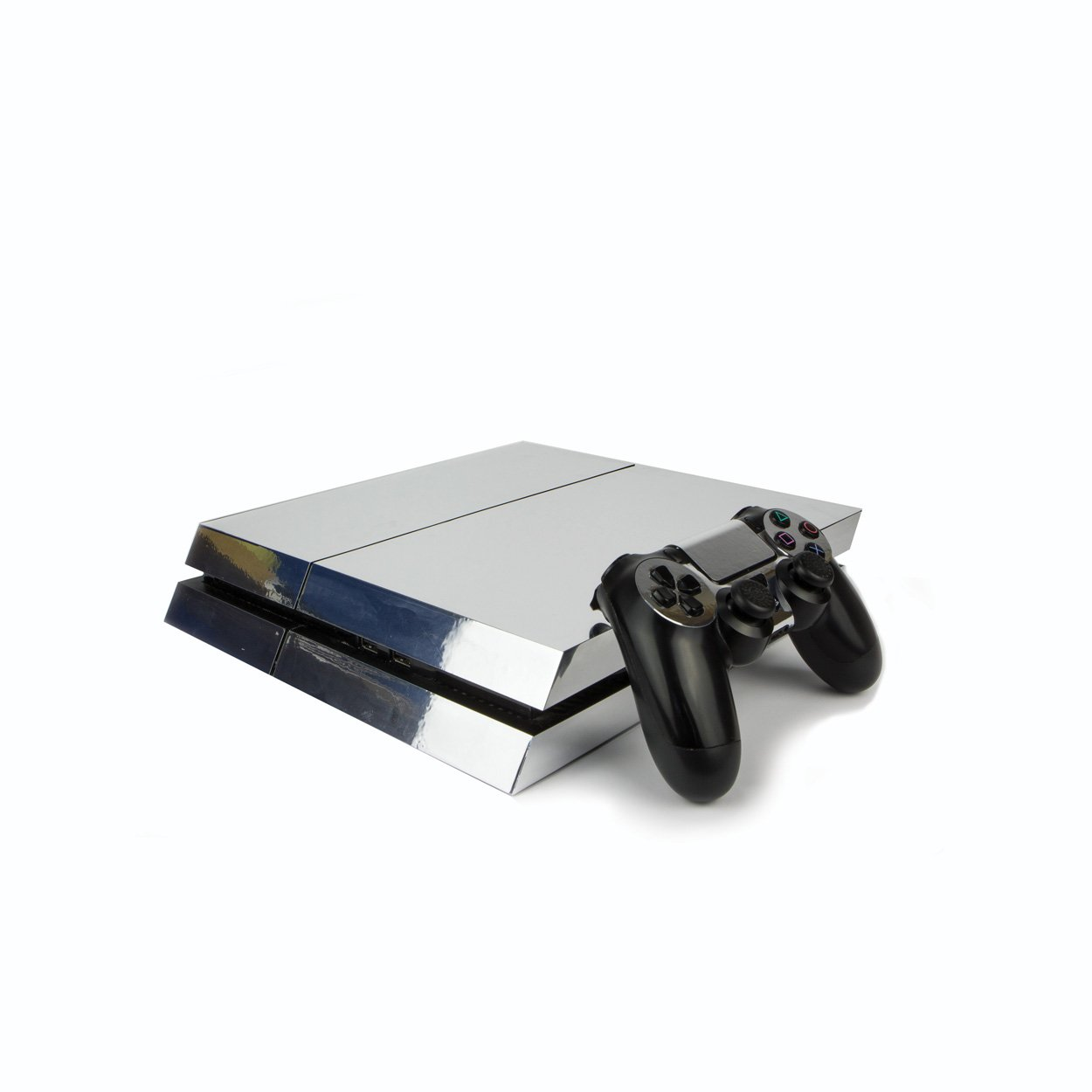 Premium PS4 PlayStation 4 Metallic Vinyl Wrap / Skin / Cover for PS4 Console and PS4 Controllers: Chrome Silver