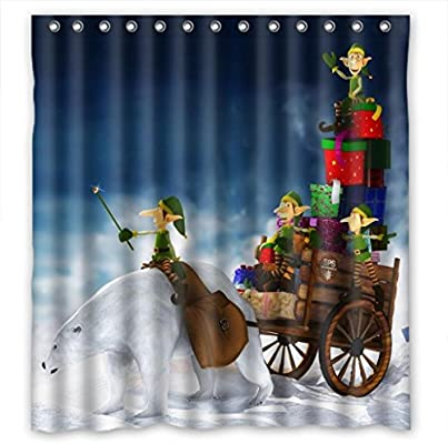 MOMO Christmas Elf Gifts Shower Curtain Measures66w X 72h
