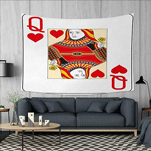 Anniutwo Queen Wall Hanging Tapestry Queen of Hearts Playing Card Casino Design Gambling Game Poker Blackjack Customed Widened Tapestry W90 x L60 (inch) Vermilion Yellow - Set Dead Poker Walking