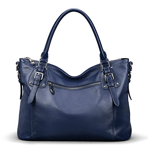 S-ZONE Women's Vintage Genuine Leather Tote Large Shoulder Bag Upgraded Version With Zipper Pocket Outside (Large-Blue) Pocket Large Handbag