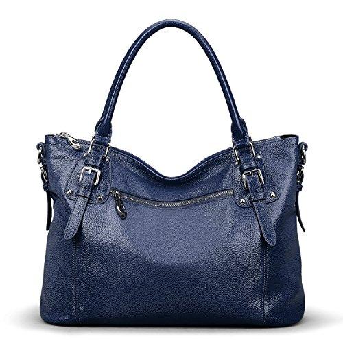 S-ZONE Women's Vintage Genuine Leather Tote Large Shoulder Bag with Zipper Pocket Outside (Medium-Blue)