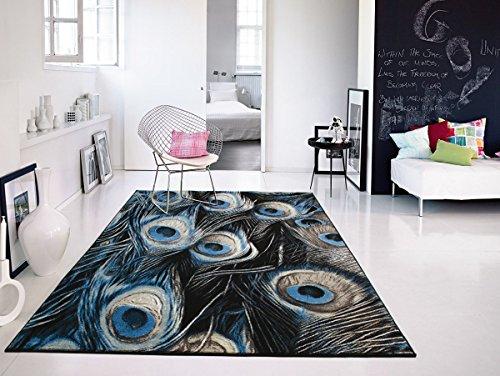 Premium Soft Black Peafowl Pattern Area Rugs, 5x8 Living Room Rug