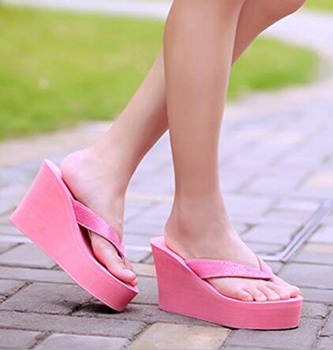 Summerwhisper Mujeres Glitter Plataforma Con Lentejuelas Sandalias Cuña Antideslizante Heel Sandy Chanclas Rosa