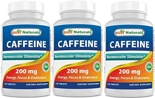 3 Pack Best Naturals Caffeine Pills 200mg Tablets – Non Habit – Proven No Crash or Jitters – Total 360 Tablets