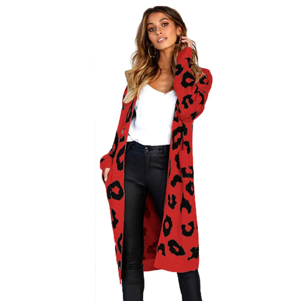 Youth Union Women Cardigan,Leopard Print Long Knit Open Front Sweater Christmas