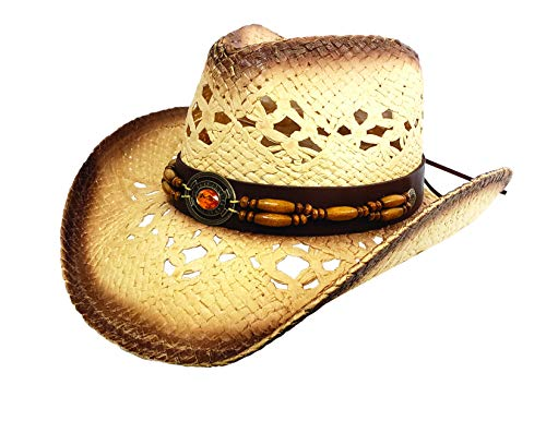 Men's & Women's Western Style Cowboy/Cowgirl Toyo Straw Hat (Tea Stain-Orange/Beads)