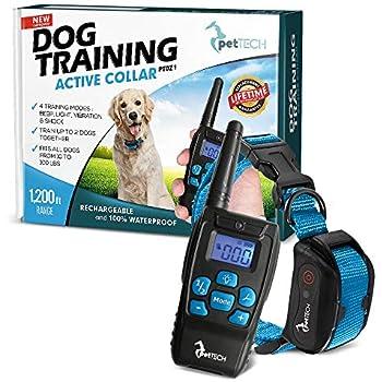 PetTech PT0Z1 Premium Dog Training Shock Collar, Fully Waterproof, 1200ft Range (Blue)