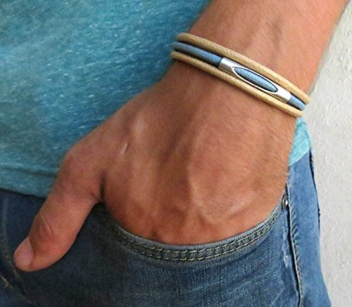 Handmade Beige and Blue Cuff Bracelet For Men Set With Silver Plated Tube By Galis -