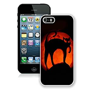 Custom-ized Iphone 5S Protective Cover Case Halloween Pumpkin art iPhone 5 5S TPU Case 1 White