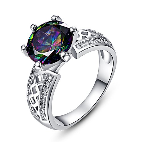 Date Solitaire Ring (Psiroy 925 Sterling Silver Created Rainbow Topaz Filled Cocktail Solitaire Engagement Ring)