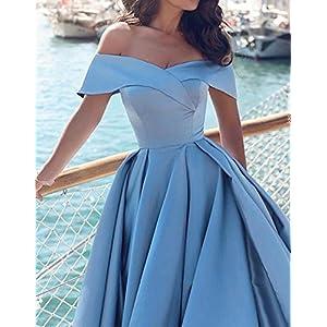 0919989785a Homdor Split Off Shoulder Prom Evening Dress for Women A-Line Satin Formal  Gown